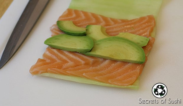 Slices of avocado in ketogenic sushi