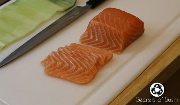 Sliced salmon for ketogenic sushi
