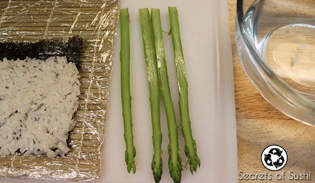 sliced asparagus for sushi