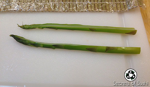 Slicing asparagus for Paleo Sushi