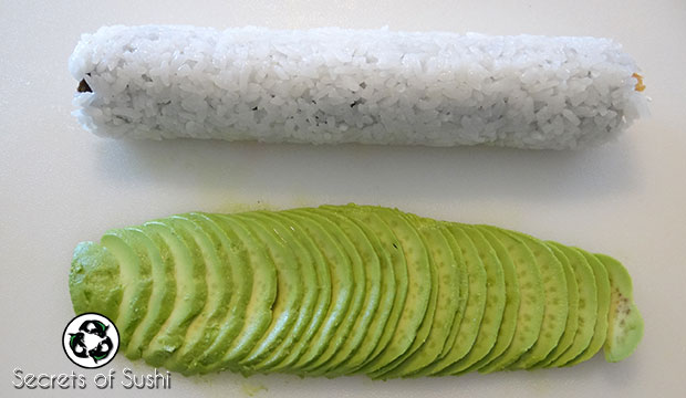 stretched out avocado for a caterpillar roll