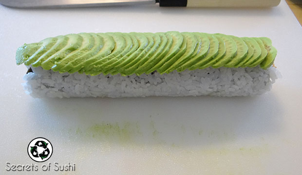 sliced avocado on a caterpillar